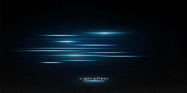 Pakiet niebieskie poziome wiązki laserowe, odblaski, promienie światła, świecące paski