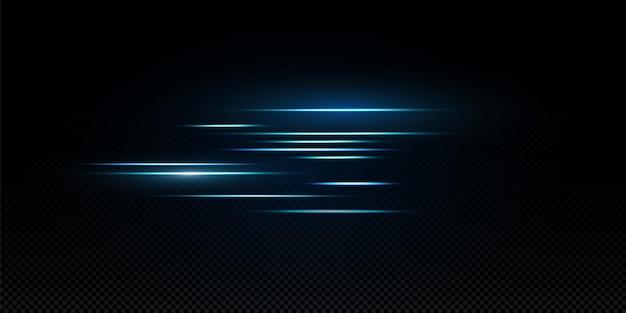 Pakiet niebieskie poziome wiązki laserowe, promienie świetlne, świecące paski