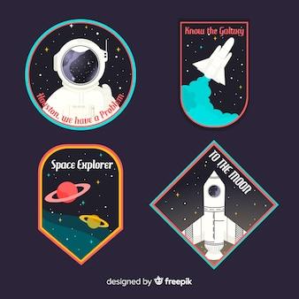 Pakiet nowoczesnych kolorowych naklejek kosmicznych