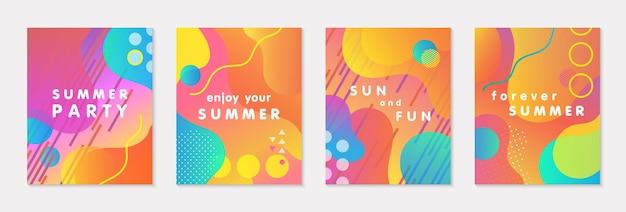 Pakiet nowoczesnych letnich plakatów wektorowych z jasnym gradientowym tłem, kształtami i elementami geometrycznymi. modny abstrakcyjny wzór idealny do wydruków, mediów społecznościowych, banerów, zaproszeń, projektów brandingowych, okładek