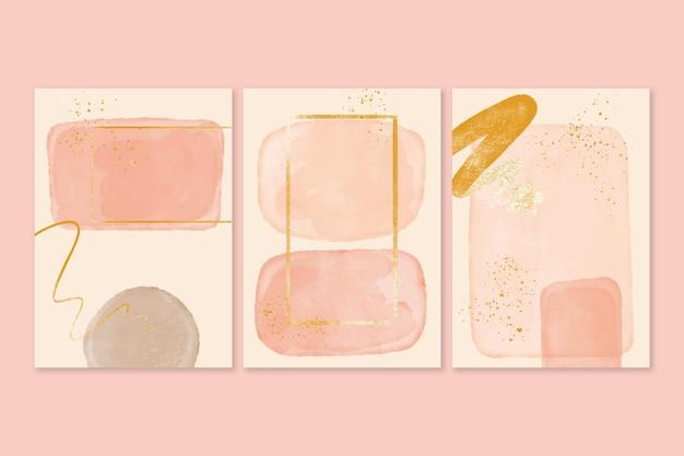 Pakiet okładek abstrakcyjnych kształtów akwarela