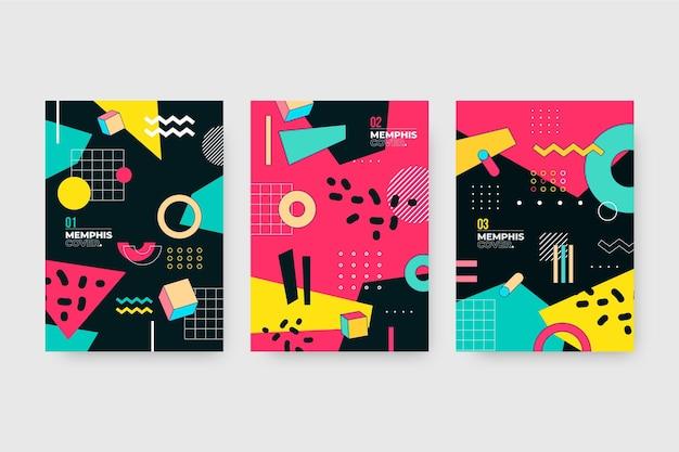 Pakiet okładek abstrakcyjnych projektów memphis