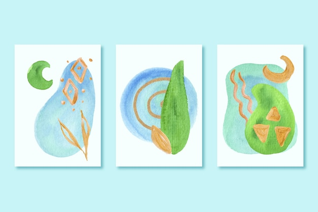 Pakiet okładek z różnymi kształtami akwareli