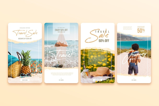 Pakiet opowiadań na instagramie w sprzedaży podróży