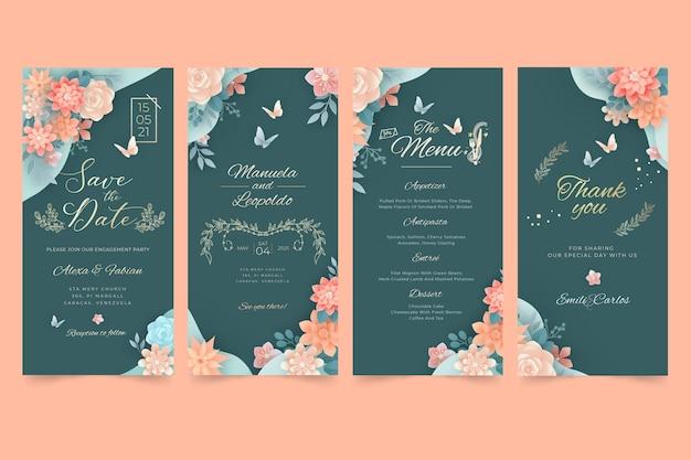 Pakiet opowiadań na instagramie z kwiatowym ślubem