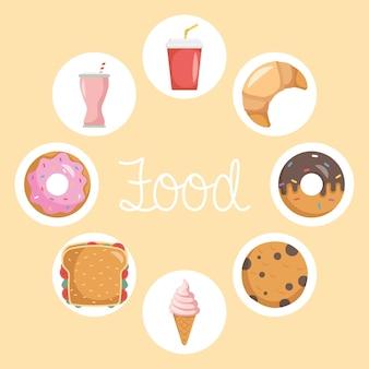 Pakiet ośmiu ikon i napisów fast food