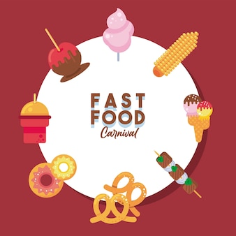 Pakiet ośmiu ulicznych fast foodów zestaw ikon i napisów