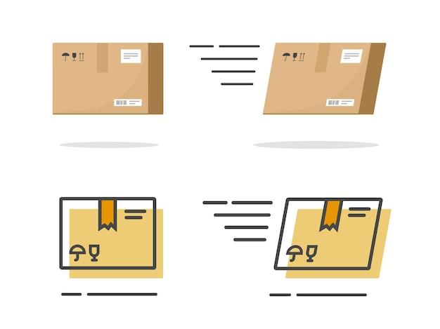 Pakiet paczek ikona papieru na białym tle i karton cargo szybka dostawa płaska linia kreskówek zarys sztuki