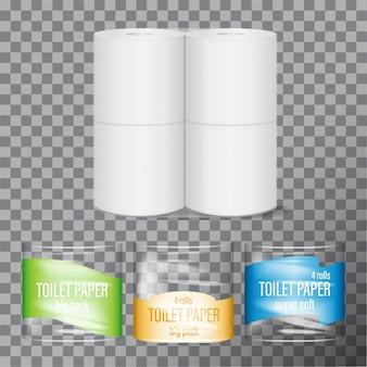 Pakiet papieru toaletowego. opakowanie plastikowe z super miękkiego papieru toaletowego. wewnątrz 4 rolki naturalnego papieru celulozowego. makieta produktu marki higiena