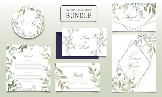 Pakiet piękne zaproszenia ślubne z liści akwarela