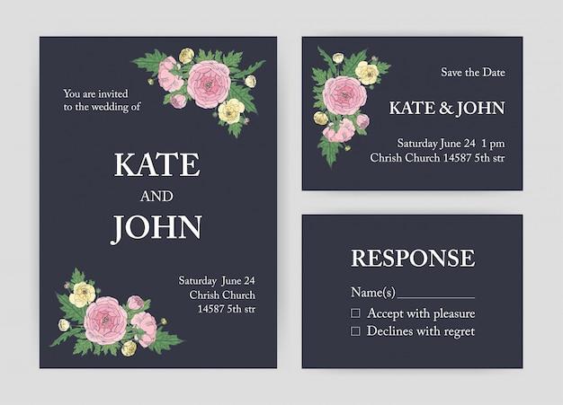 Pakiet pięknych zaproszeń ślubnych, szablonów save the date i kart odpowiedzi, ozdobionych różowymi i żółtymi kwiatami i liśćmi jaskier na czarnym tle.