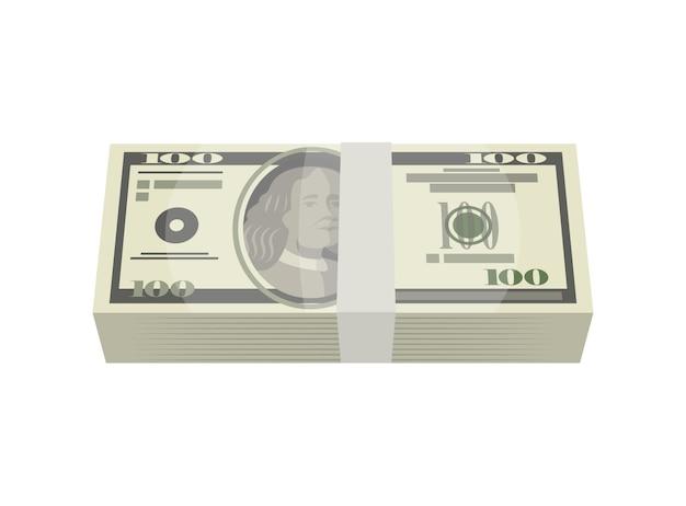 Pakiet pieniędzy banknotów na białym tle izometryczny ikona
