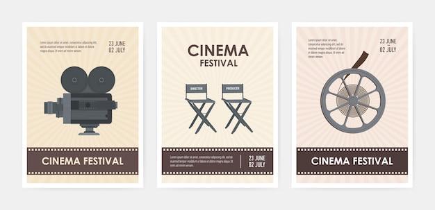 Pakiet pionowych szablonów ulotek lub plakatów z aparatem retro, krzesłami reżysera i producenta, rolką filmu i miejscem na tekst.