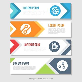 Pakiet płaskich banerów infograficznych o kolorowych kształtach
