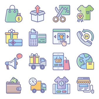 Pakiet płaskich ikon e-commerce