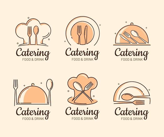 Pakiet płaskich szablonów logo gastronomicznych