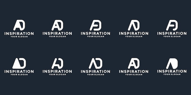 Pakiet początkowy projekt logo ad alfabet typografia streszczenie