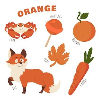 Pakiet pomarańczowych przedmiotów i słów słownictwa