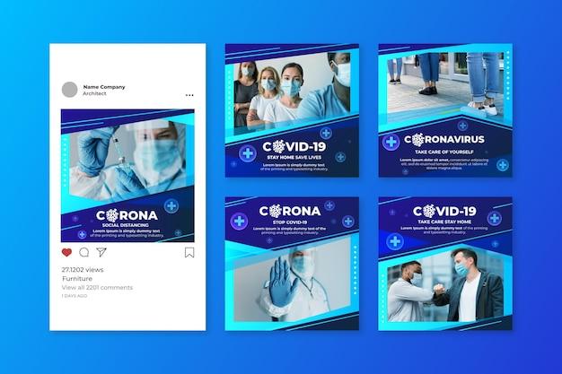 Pakiet postów na instagramie koronawirusa