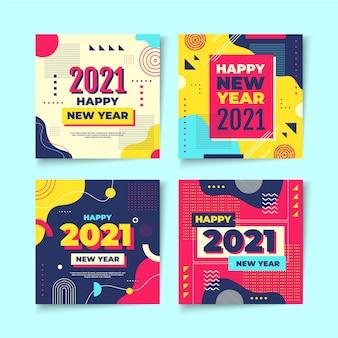 Pakiet Postów Na Instagramie Z Okazji Nowego Roku 2021 Premium Wektorów