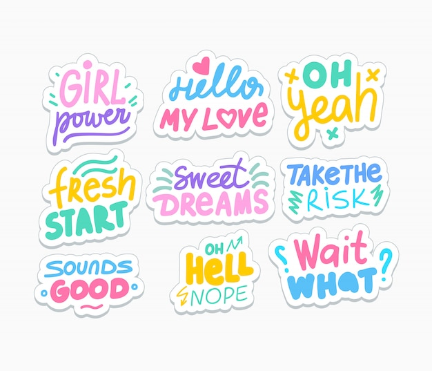 Pakiet pozytywnych naklejek w mediach społecznościowych. motywacyjne i romantyczne powiedzenia