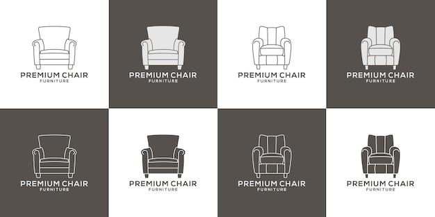 Pakiet premium meble krzesło logo wektor projektowania