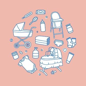 Pakiet produktów do pielęgnacji i karmienia niemowląt narysowanych konturami na różowym tle. zestaw narzędzi dla noworodka. zbiór materiałów żłobkowych. ilustracja wektorowa w nowoczesnym stylu liniowym.