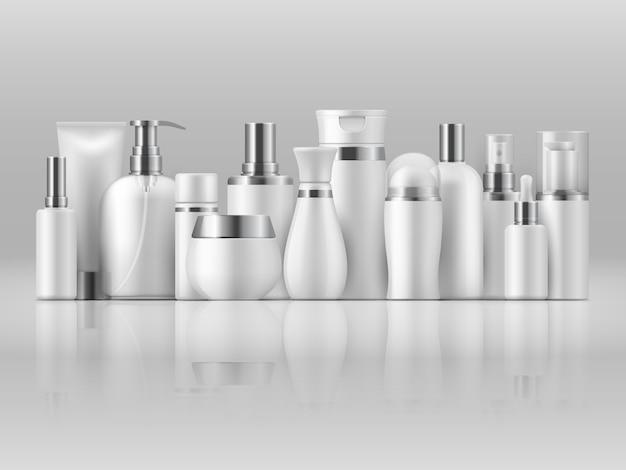 Pakiet produktów kosmetycznych. piękno butelki białego pustego opakowania szamponu balsamu 3d produktu szablon