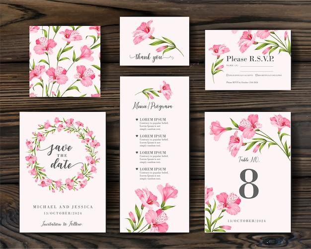 Pakiet projekt zaproszenia z tropikalnymi kwiatami. kolekcja kart okolicznościowych.