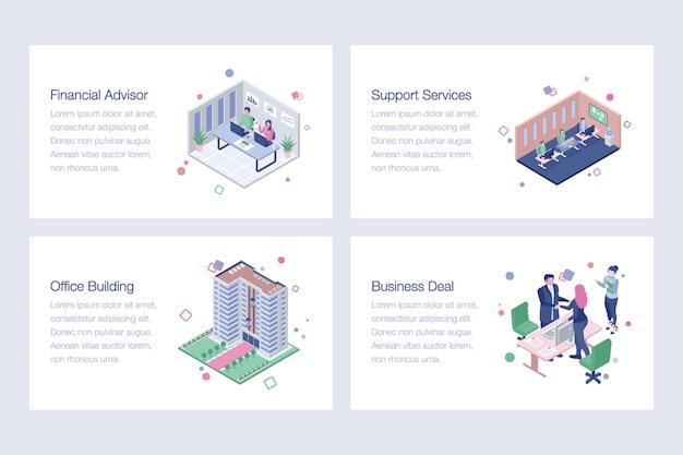 Pakiet projektowy ilustracje wektorowe biznesowe