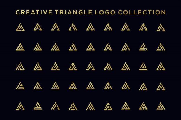 Pakiet projektu logo litery a w złotym stylu,