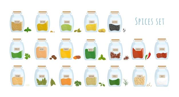 Pakiet przypraw przechowywanych w zamkniętych szklanych słoikach na białym tle. zestaw pikantnych przypraw, aromatycznych składników do gotowania w przezroczystych pojemnikach kuchennych. ilustracja wektorowa kolorowe.