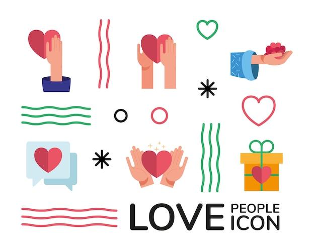 Pakiet rąk i serc kochają ludzi, ustawiają ikony i projekt ilustracji napisów