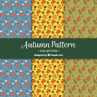Pakiet ręcznie narysowanych jesiennych wzorców