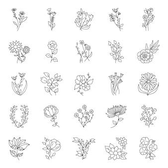 Pakiet ręcznie rysowane elementy kwiatowe