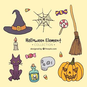 Pakiet ręcznie rysowany halloween akcesoria