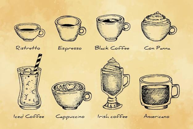 Pakiet rodzajów kawy vintage