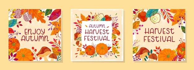 Pakiet sezonowych jesiennych ilustracji wektorowych na dożynki z dyniami, grzybami, granatami, jabłkami, roślinami, liśćmi, jagodami i elementami kwiatowymi. modne jesienne wzory.