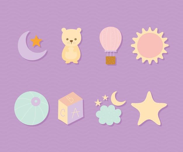 Pakiet ślicznych ikon na fioletowym tle