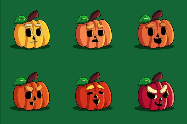 Pakiet słodka dynia halloweenowa emotikon