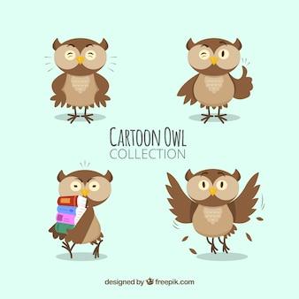 Pakiet śmieszne kreskówka sowa