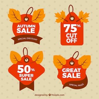 Pakiet sprzedaży etykiet z liści jesienią