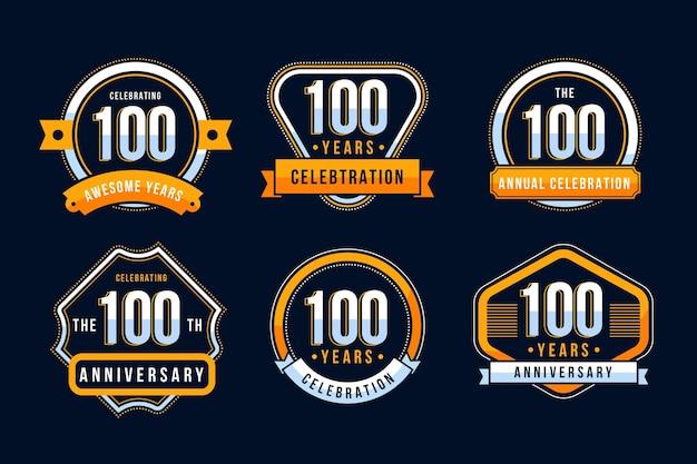 Pakiet Stu Rocznicowych Odznak Premium Wektorów