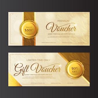 Pakiet szablonów bonów prezentowych w złotym kolorze
