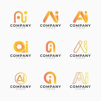 Pakiet szablonów logo gradientu ai