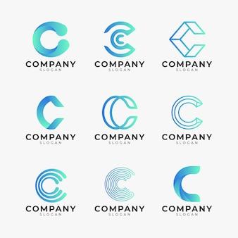 Pakiet szablonów logo w kolorze gradientu