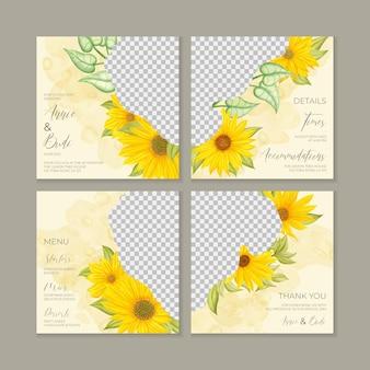 Pakiet szablonów mediów społecznościowych z akwarela kwiatowy ślub