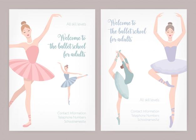 Pakiet szablonów plakatów lub ulotek dla szkoły baletowej lub studia dla dorosłych z eleganckimi tańczącymi baletnicami w koszulkach i miejscem na tekst na białym tle. ilustracja do reklamy.