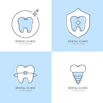 Pakiet szablonów płaskiego logo dentystycznego