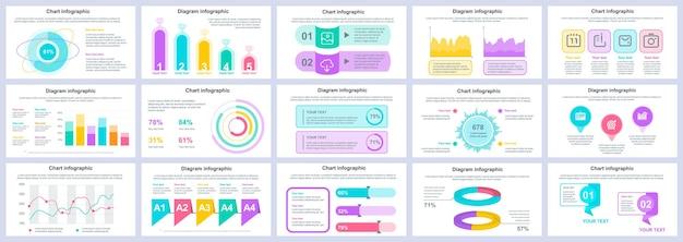 Pakiet szablonów prezentacji infografiki biznesowych i finansowych